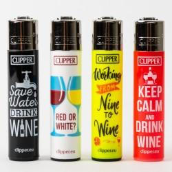 Clipper Feuerzeug Groß Wein-Zitate x4