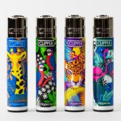 Clipper Feuerzeug Groß tropische Tiere x4