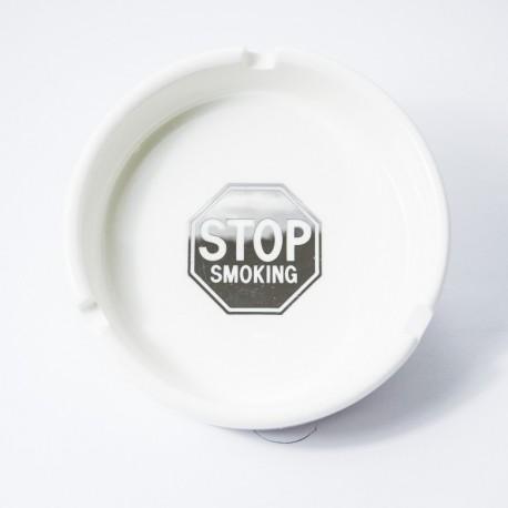 Runder Keramik-Aschenbecher 10cm Stopp