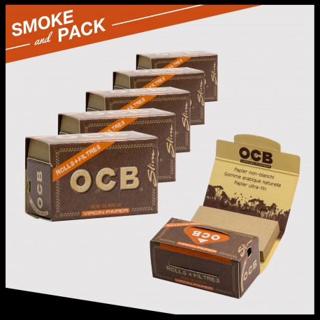 Ocb virgin rolling paper rolls + filters tips x6