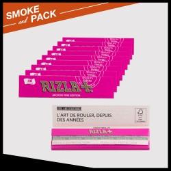 Pack 10 cahiers de papier à rouler Rizla+ micron pink slim
